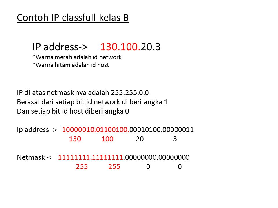 IP address-> 130.100.20.3 Contoh IP classfull kelas B