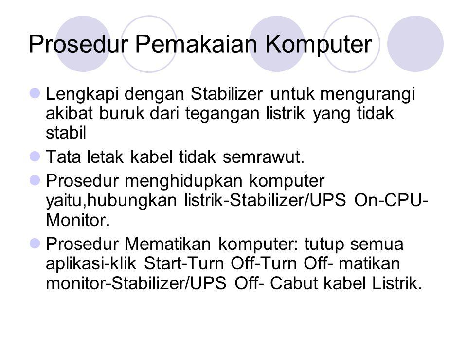 Prosedur Pemakaian Komputer