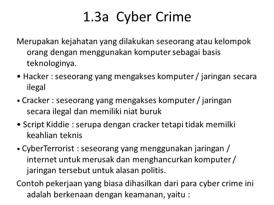 1.3a Cyber Crime Merupakan kejahatan yang dilakukan seseorang atau kelompok orang dengan menggunakan komputer sebagai basis teknologinya.