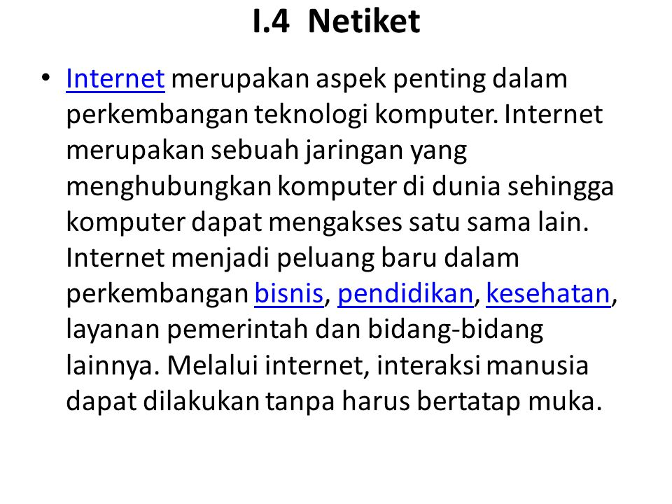 I.4 Netiket