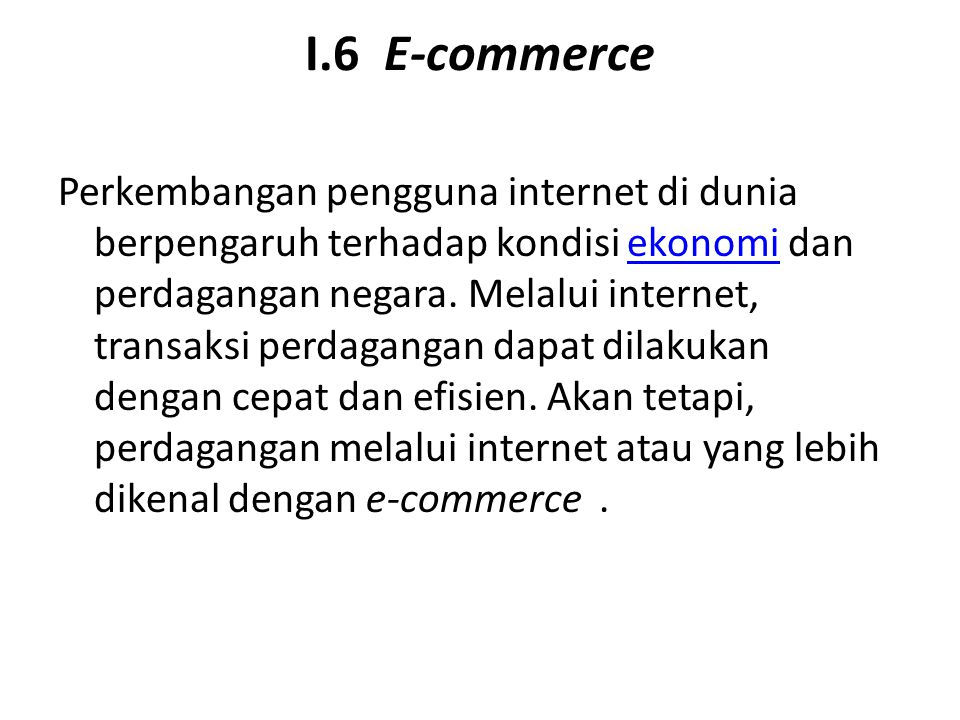I.6 E-commerce