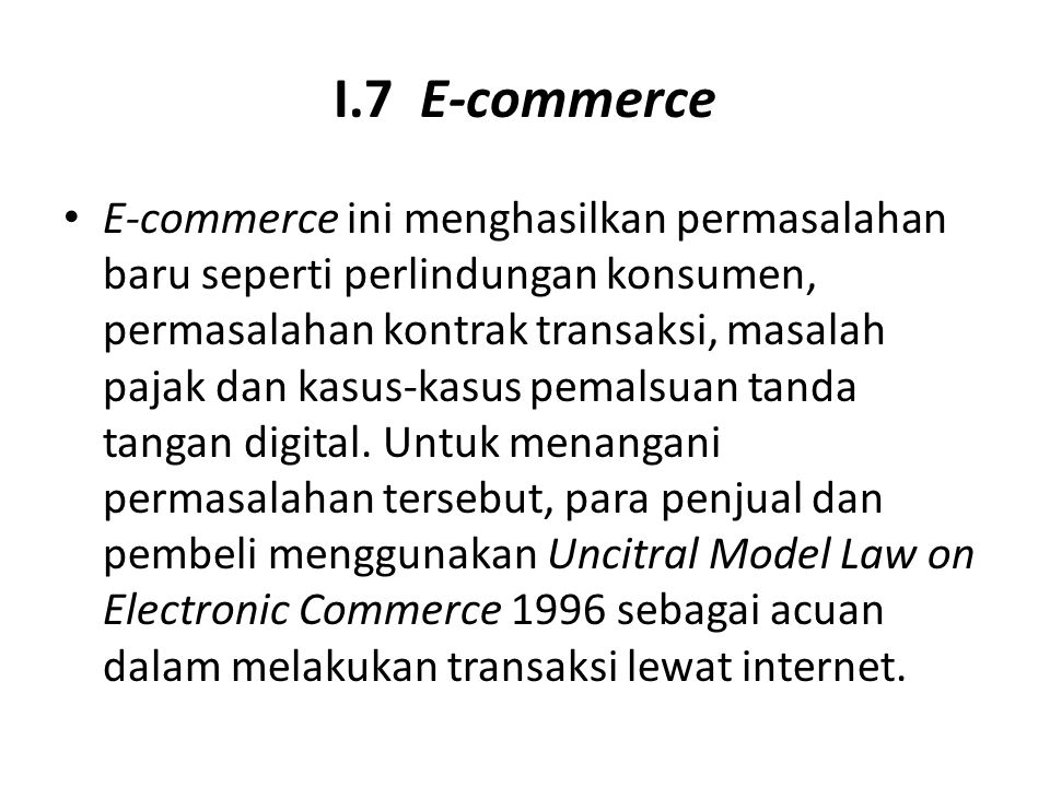 I.7 E-commerce