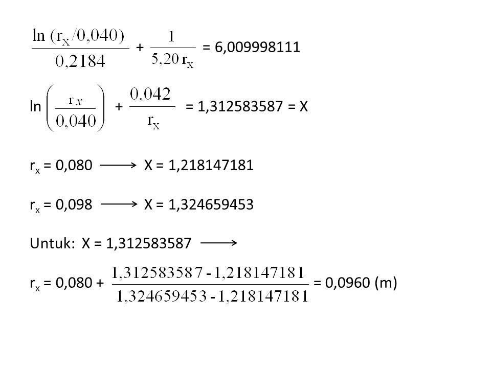 + = 6,009998111 ln + = 1,312583587 = X rx = 0,080 X = 1,218147181 rx = 0,098 X = 1,324659453 Untuk: X = 1,312583587 rx = 0,080 + = 0,0960 (m)
