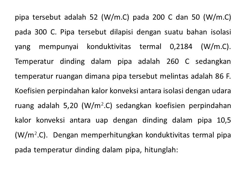 pipa tersebut adalah 52 (W/m. C) pada 200 C dan 50 (W/m. C) pada 300 C
