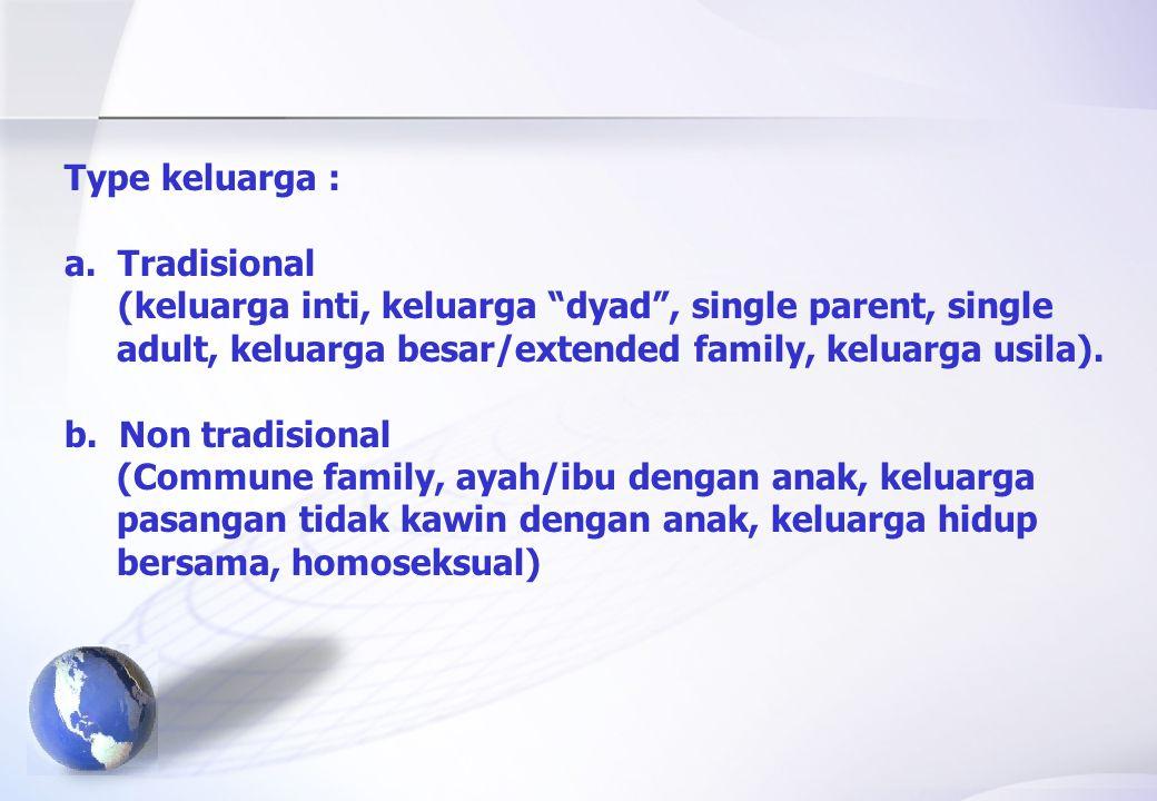 Type keluarga : Tradisional. (keluarga inti, keluarga dyad , single parent, single. adult, keluarga besar/extended family, keluarga usila).