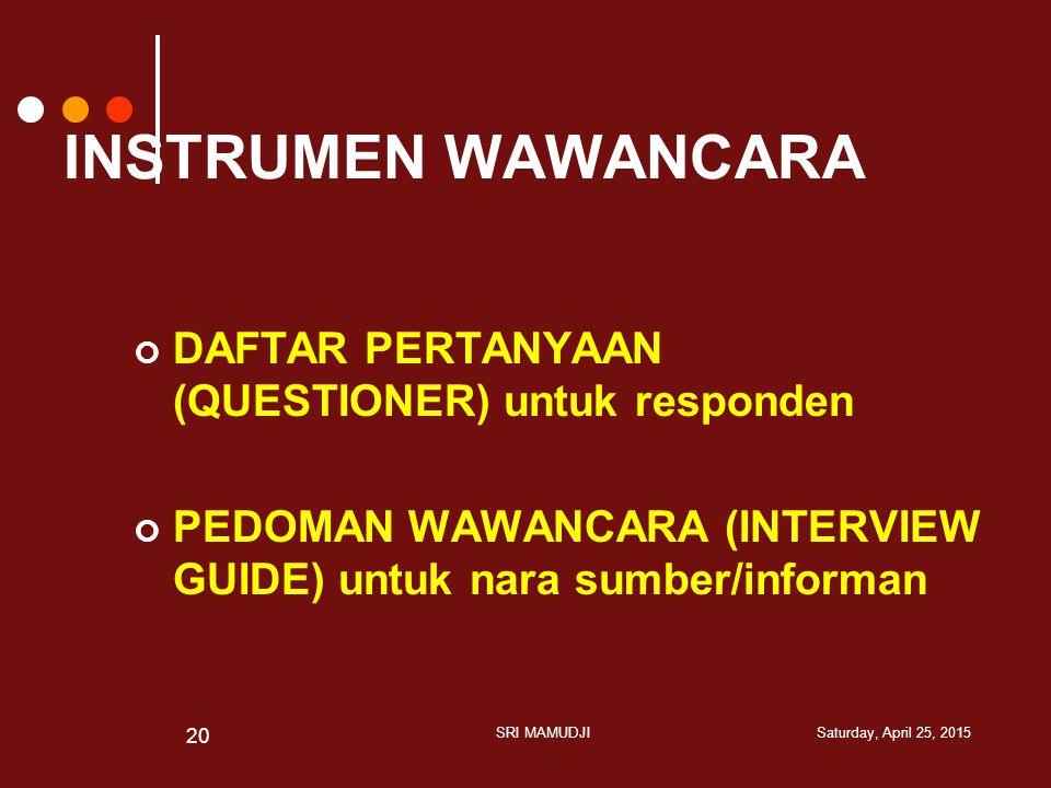 INSTRUMEN WAWANCARA DAFTAR PERTANYAAN (QUESTIONER) untuk responden