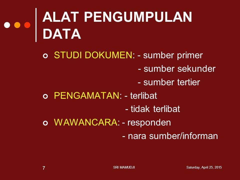 ALAT PENGUMPULAN DATA STUDI DOKUMEN: - sumber primer - sumber sekunder