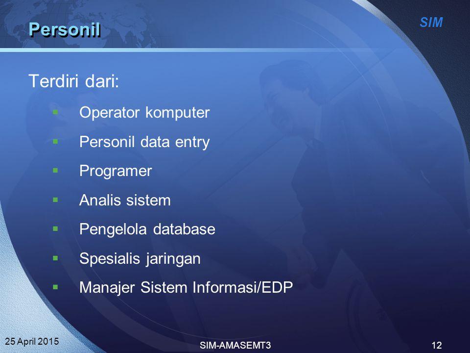 Personil Terdiri dari: Operator komputer Personil data entry Programer