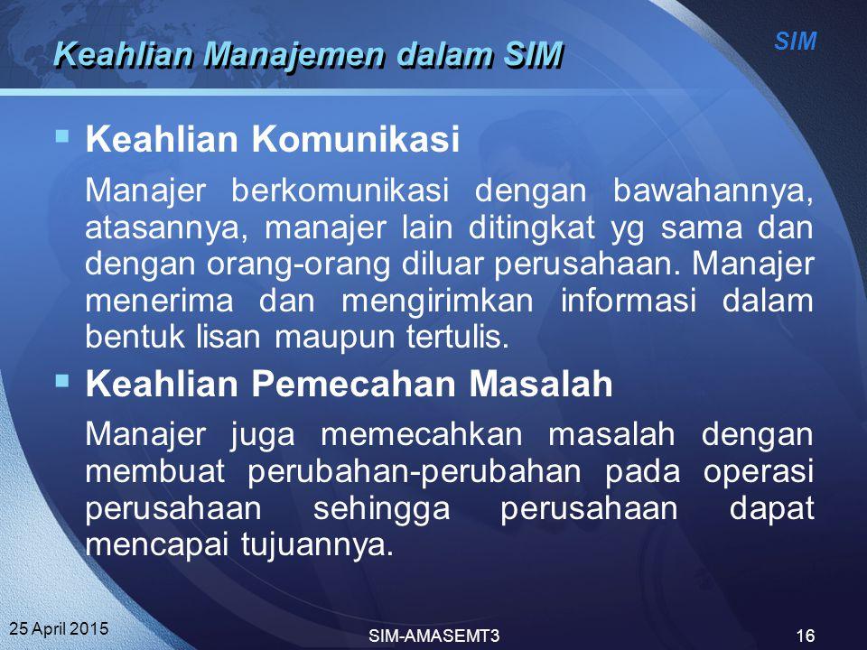 Keahlian Manajemen dalam SIM
