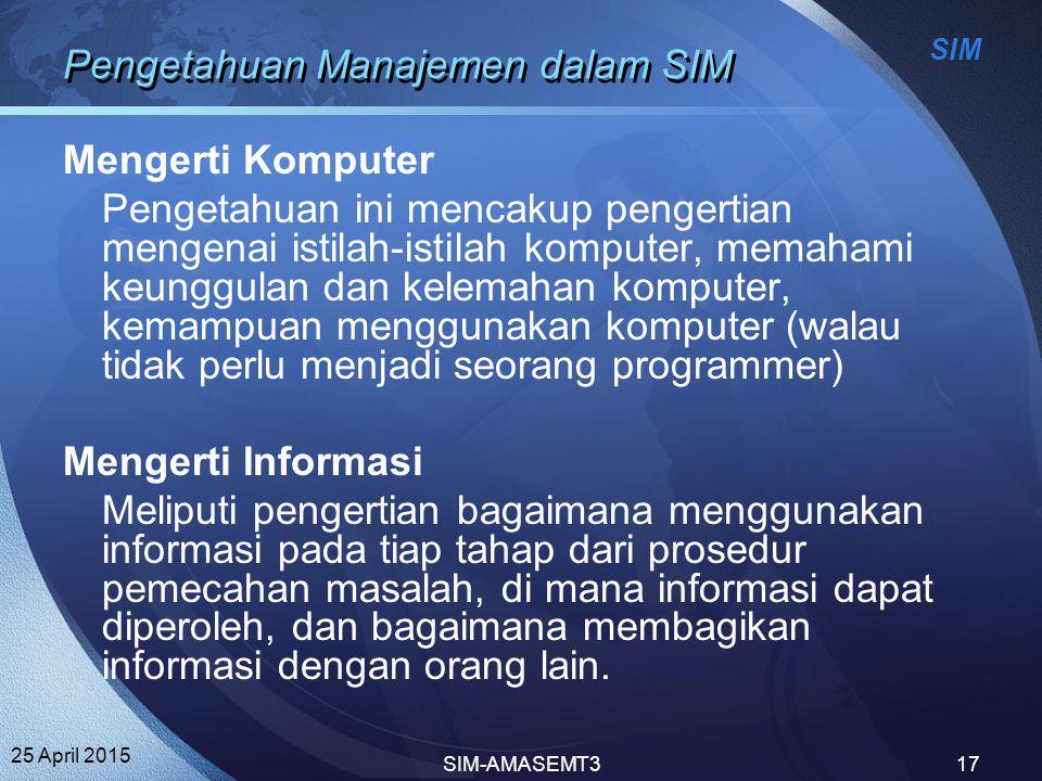 Pengetahuan Manajemen dalam SIM