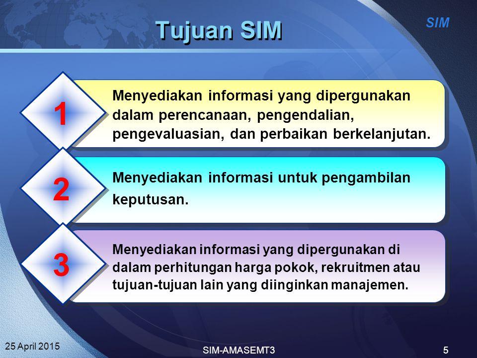 Tujuan SIM 1. Menyediakan informasi yang dipergunakan dalam perencanaan, pengendalian, pengevaluasian, dan perbaikan berkelanjutan.