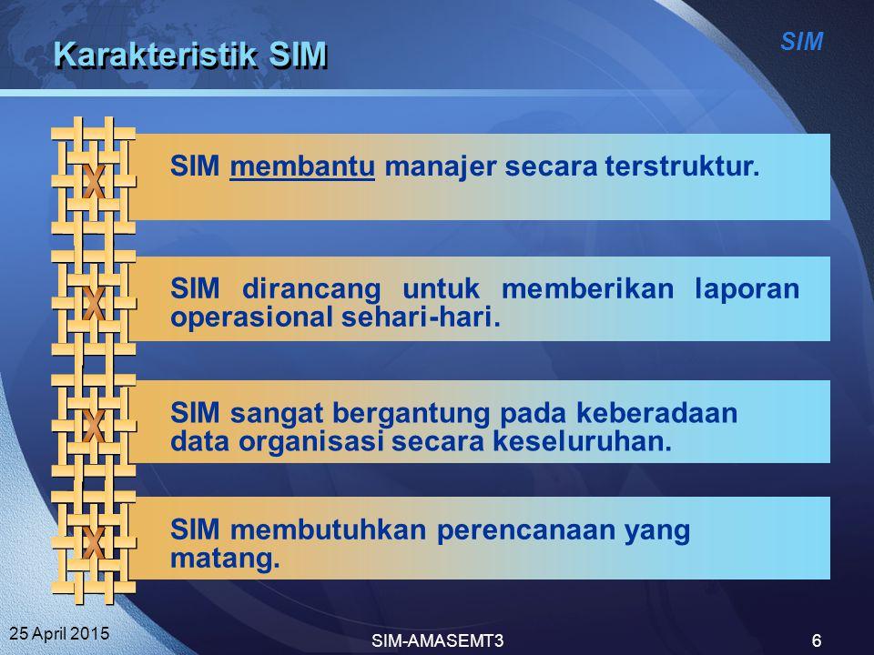 Karakteristik SIM SIM membantu manajer secara terstruktur.
