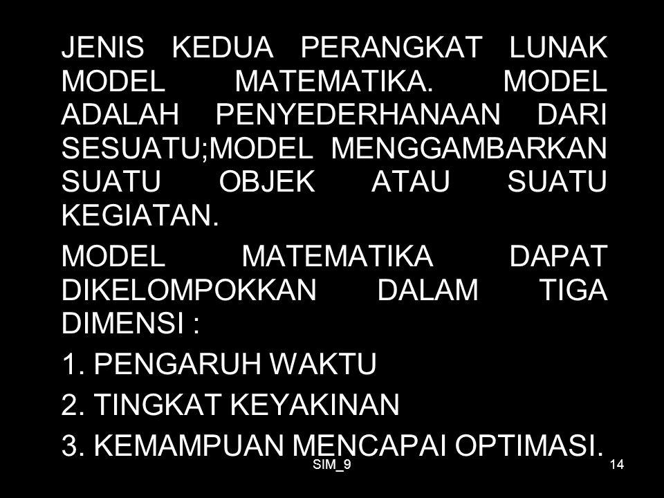 MODEL MATEMATIKA DAPAT DIKELOMPOKKAN DALAM TIGA DIMENSI :