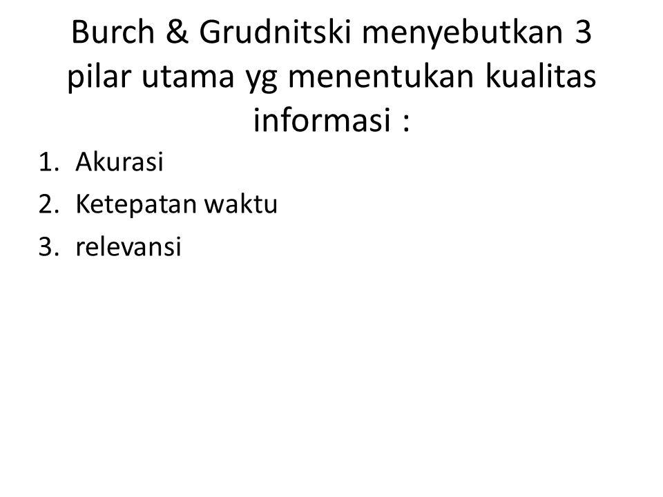 Burch & Grudnitski menyebutkan 3 pilar utama yg menentukan kualitas informasi :