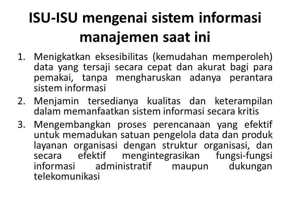 ISU-ISU mengenai sistem informasi manajemen saat ini