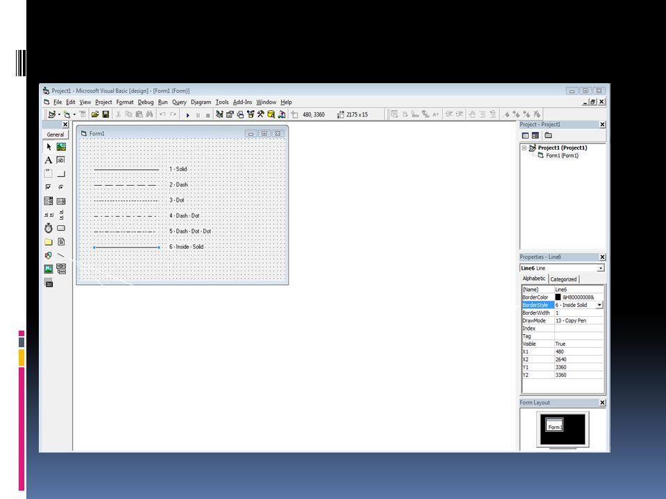 Icon Line pada VB 6.0 Properti Border Style pada VB 6.0