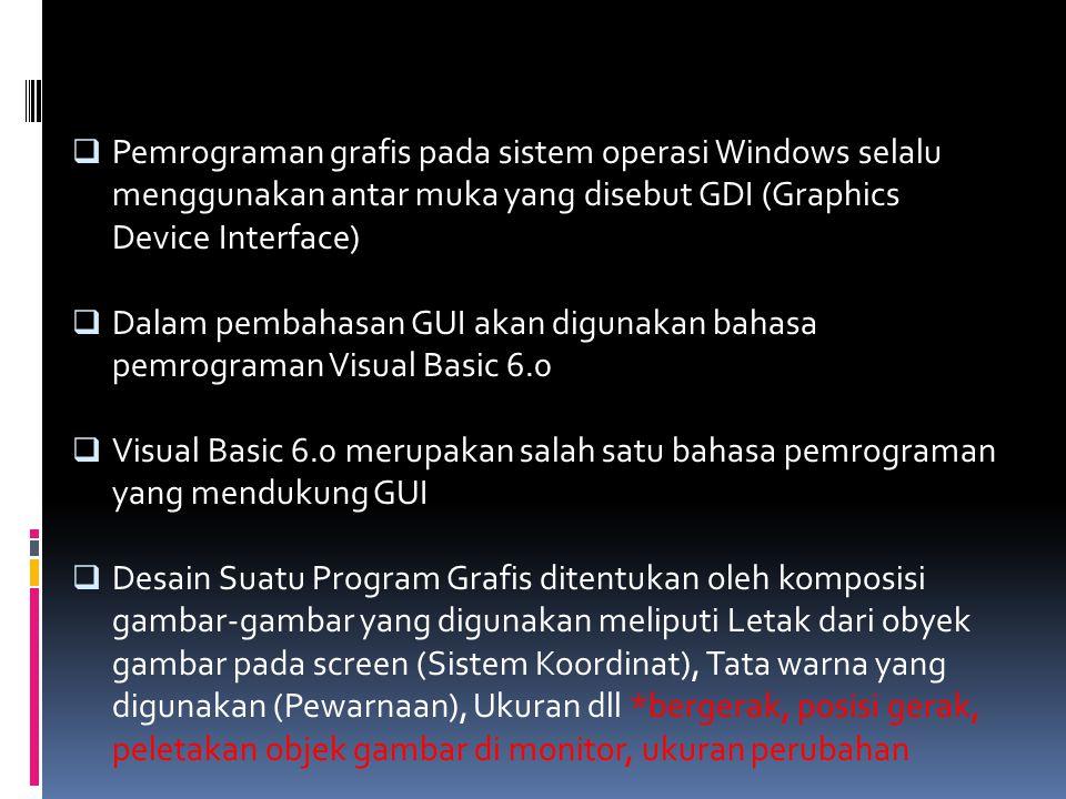 Pemrograman grafis pada sistem operasi Windows selalu menggunakan antar muka yang disebut GDI (Graphics Device Interface)