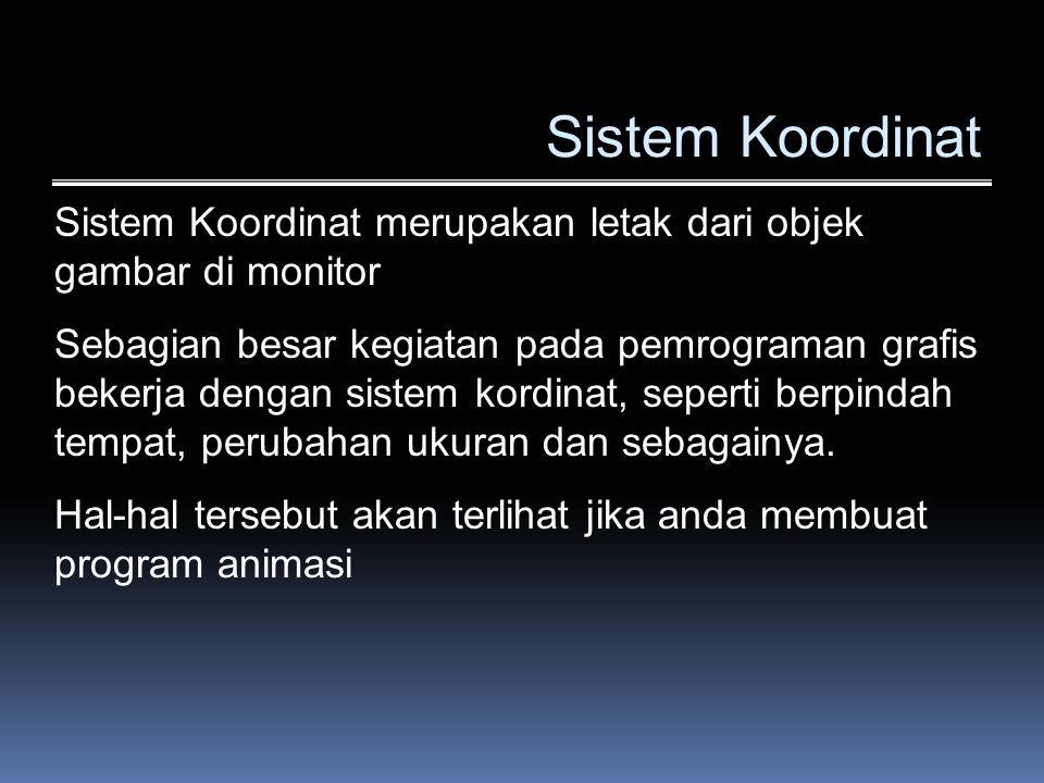 Sistem Koordinat Sistem Koordinat merupakan letak dari objek gambar di monitor.