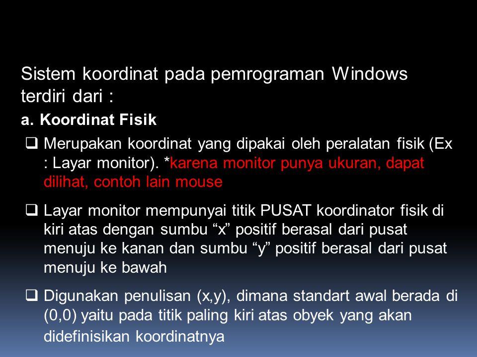 Sistem koordinat pada pemrograman Windows terdiri dari :
