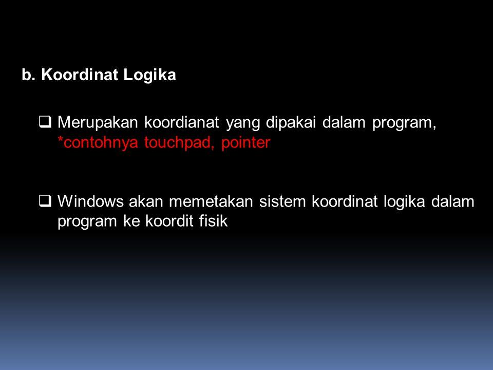b. Koordinat Logika Merupakan koordianat yang dipakai dalam program, *contohnya touchpad, pointer.
