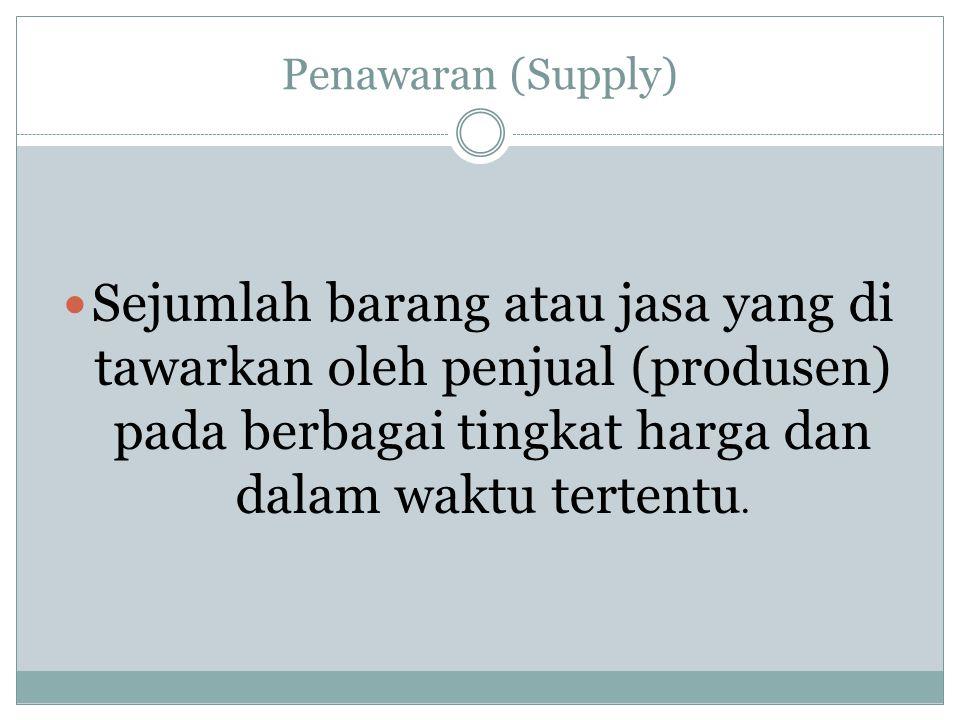 Penawaran (Supply) Sejumlah barang atau jasa yang di tawarkan oleh penjual (produsen) pada berbagai tingkat harga dan dalam waktu tertentu.
