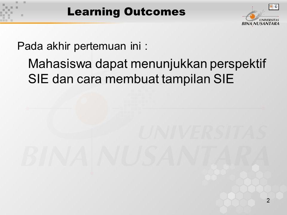 Learning Outcomes Pada akhir pertemuan ini : Mahasiswa dapat menunjukkan perspektif SIE dan cara membuat tampilan SIE.
