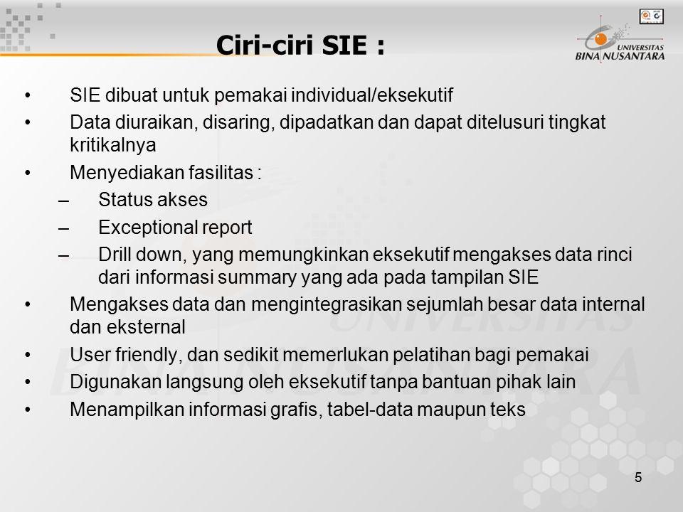 Ciri-ciri SIE : SIE dibuat untuk pemakai individual/eksekutif