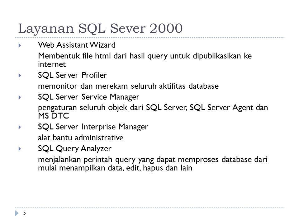 Layanan SQL Sever 2000 Web Assistant Wizard