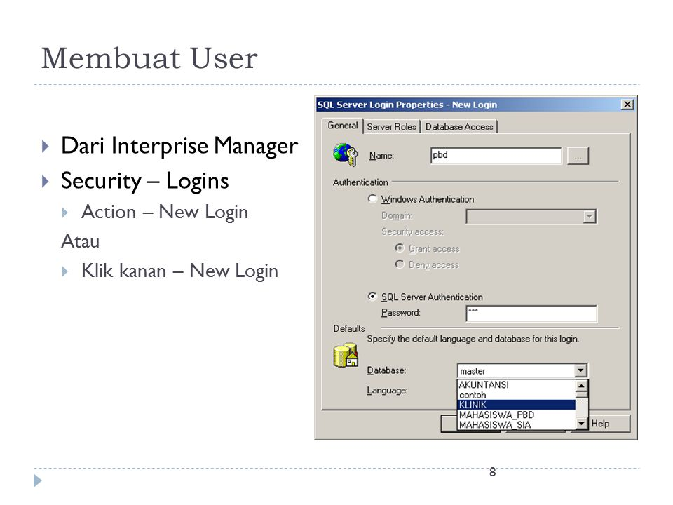 Membuat User Dari Interprise Manager Security – Logins