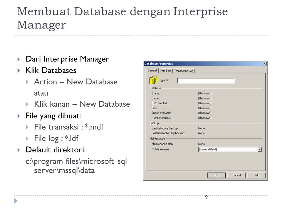 Membuat Database dengan Interprise Manager