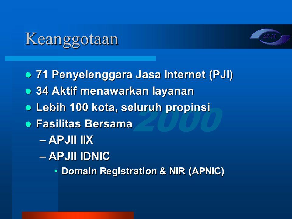 Keanggotaan 71 Penyelenggara Jasa Internet (PJI)