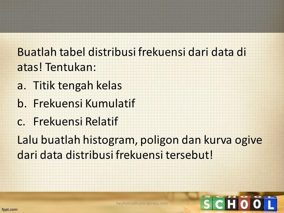 Buatlah tabel distribusi frekuensi dari data di atas! Tentukan: