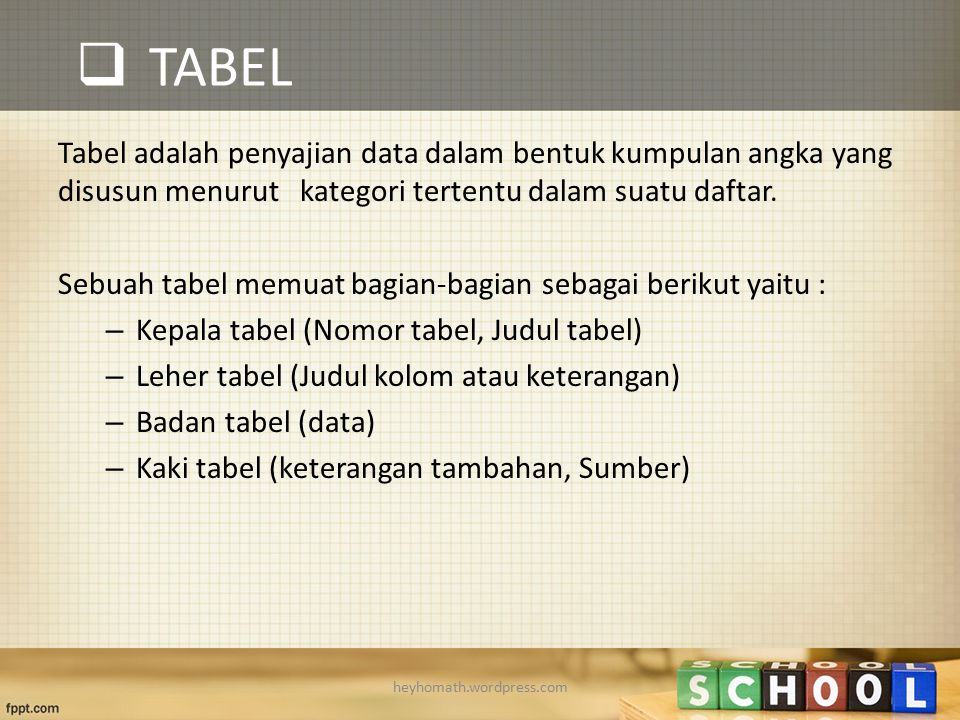 TABEL Tabel adalah penyajian data dalam bentuk kumpulan angka yang disusun menurut kategori tertentu dalam suatu daftar.