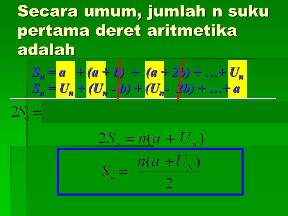 Secara umum, jumlah n suku pertama deret aritmetika adalah