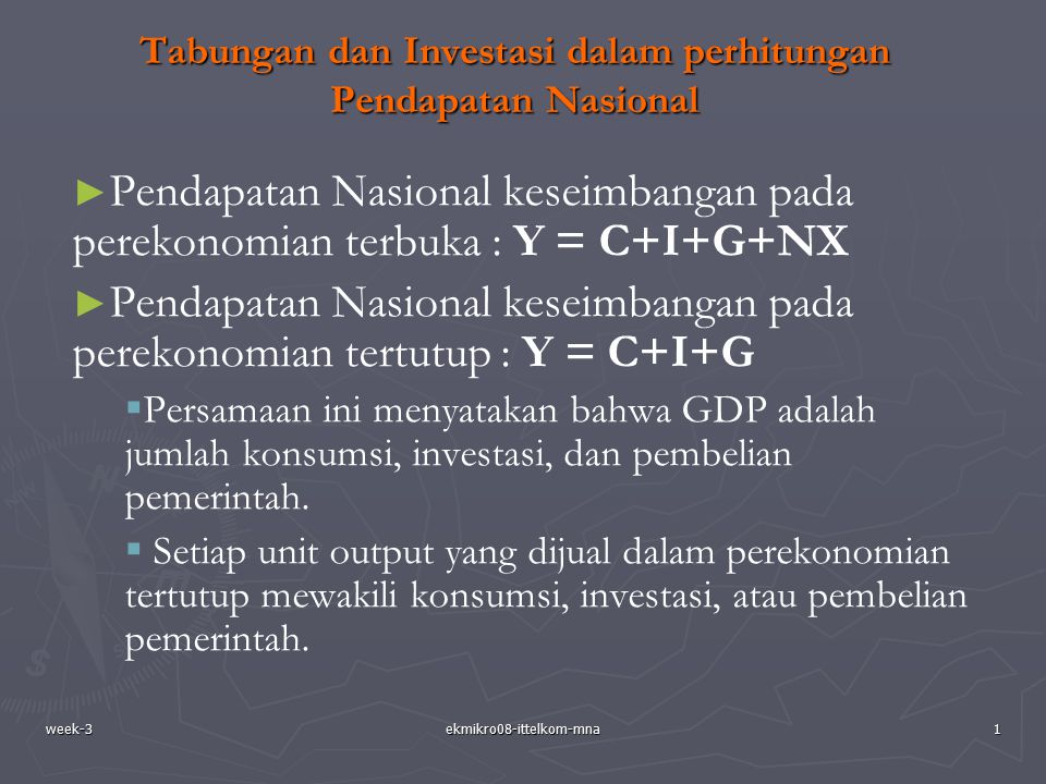 Tabungan dan Investasi dalam perhitungan Pendapatan Nasional