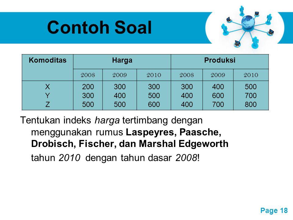 Contoh Soal Komoditas. Harga. Produksi. 2008. 2009. 2010. X. Y. Z. 200. 300. 500. 400. 600.