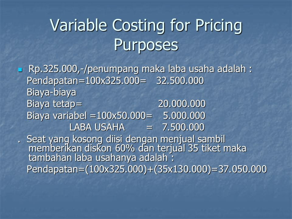 Variable Costing for Pricing Purposes