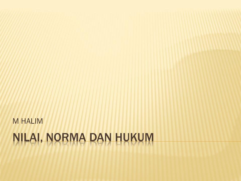 M HALIM NILAI, NORMA DAN HUKUM