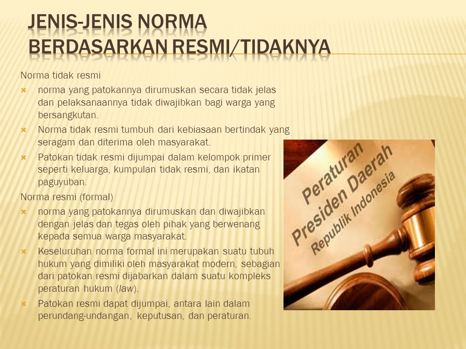 JENIS-JENIS NORMA BERDASARKAN RESMI/TIDAKNYA