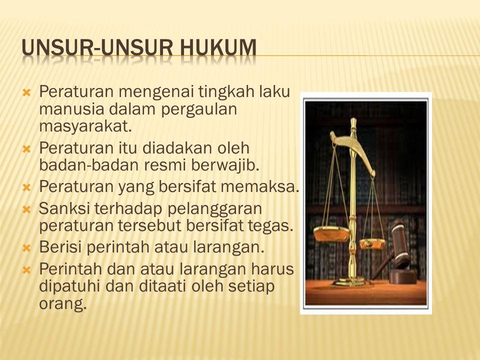 UNSUR-UNSUR HUKUM Peraturan mengenai tingkah laku manusia dalam pergaulan masyarakat. Peraturan itu diadakan oleh badan-badan resmi berwajib.