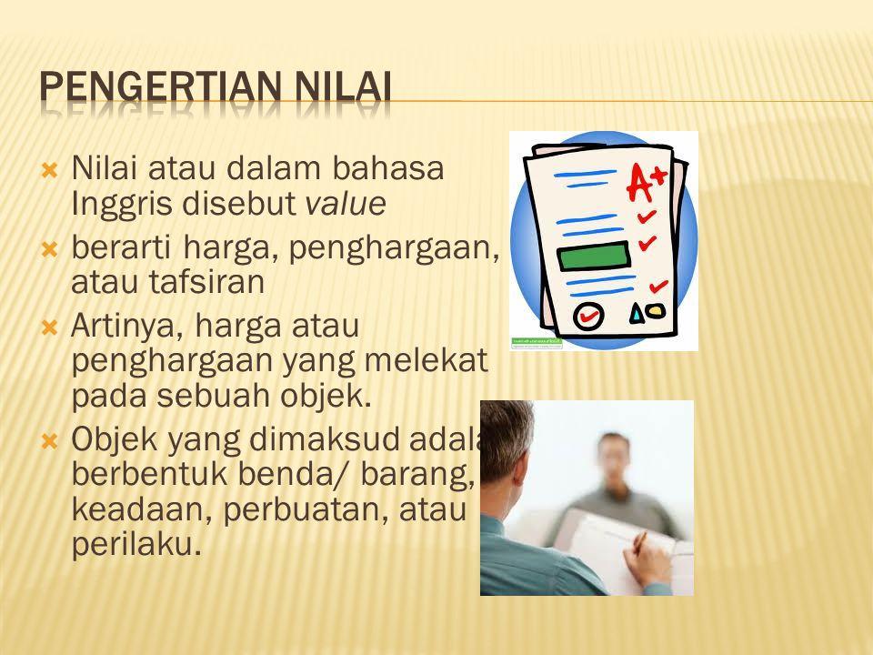 PENGERTIAN NILAI Nilai atau dalam bahasa Inggris disebut value