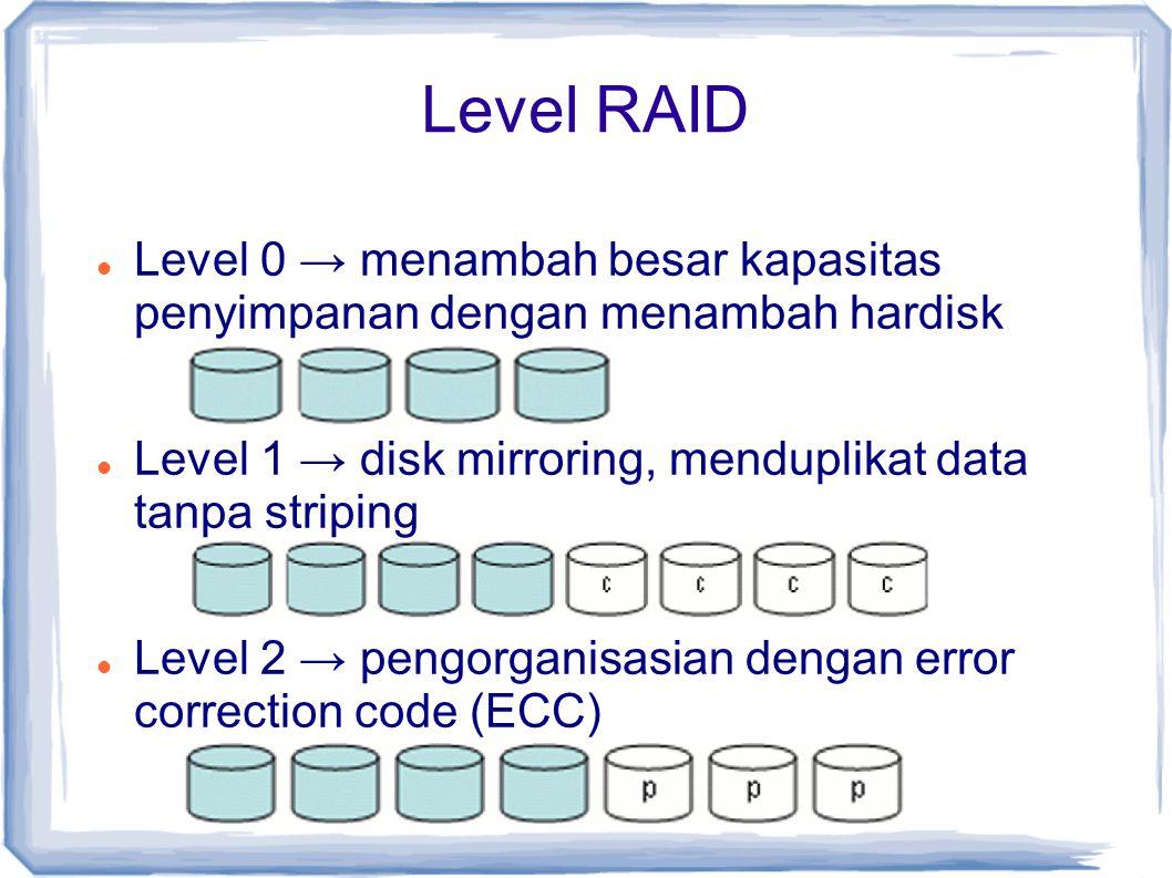 Level RAID Level 0 → menambah besar kapasitas penyimpanan dengan menambah hardisk. Level 1 → disk mirroring, menduplikat data tanpa striping.
