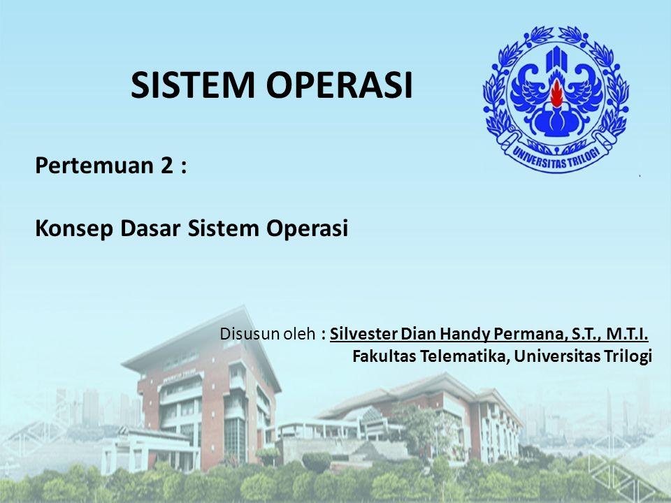 SISTEM OPERASI Pertemuan 2 : Konsep Dasar Sistem Operasi