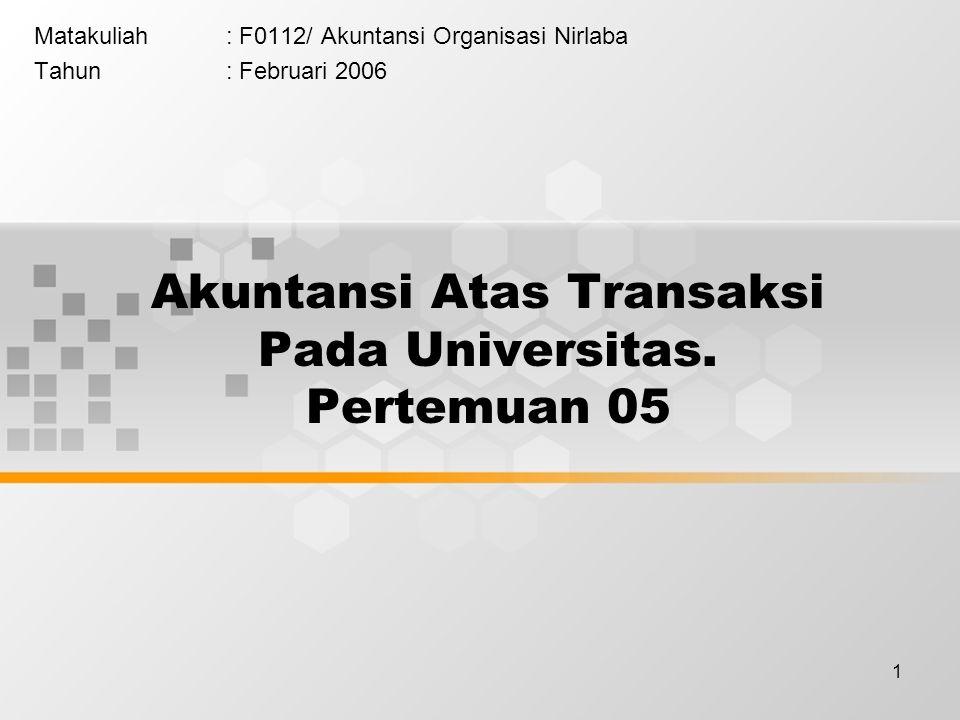 Akuntansi Atas Transaksi Pada Universitas. Pertemuan 05