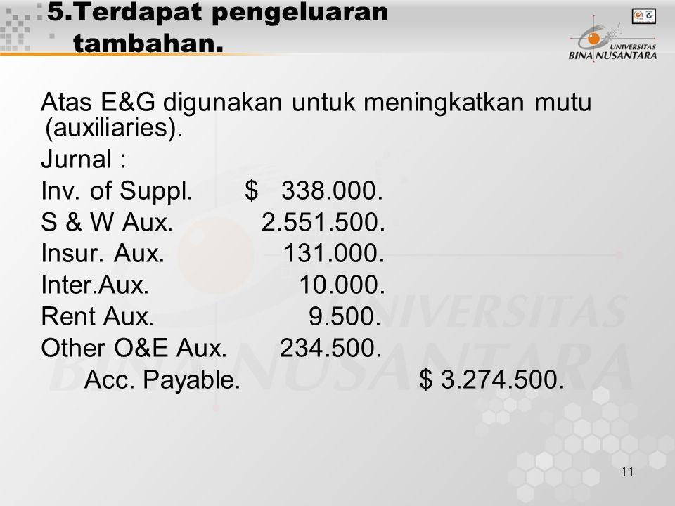 5.Terdapat pengeluaran tambahan.