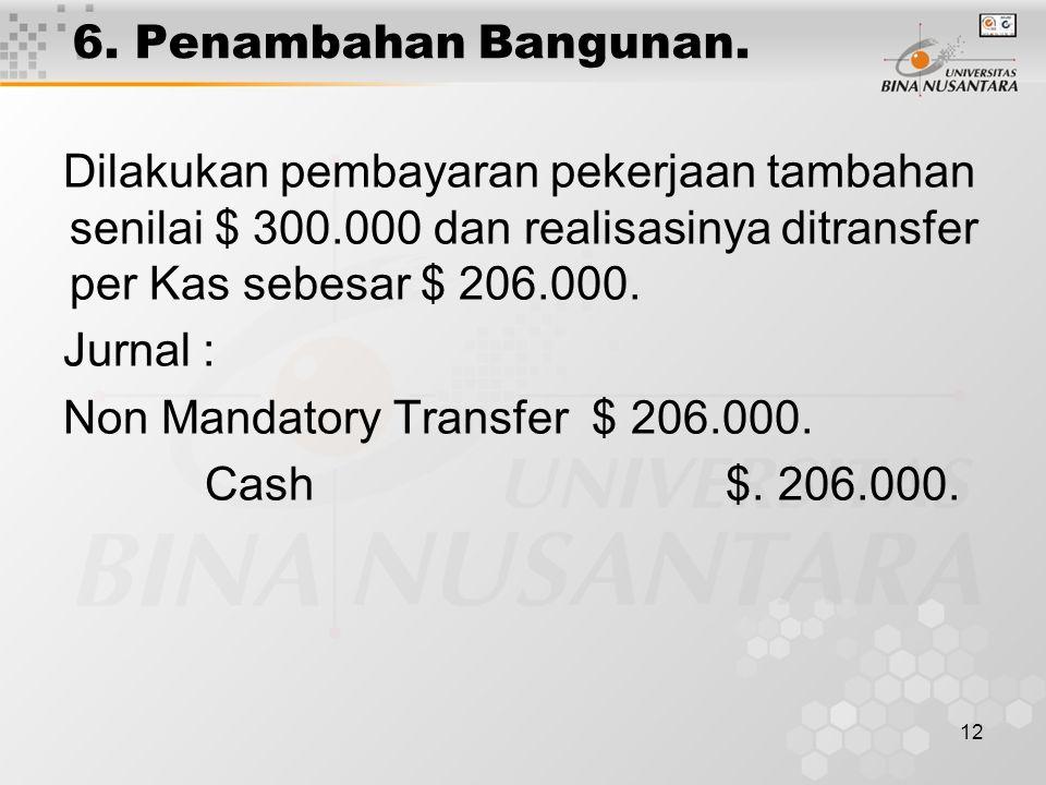 6. Penambahan Bangunan. Dilakukan pembayaran pekerjaan tambahan senilai $ 300.000 dan realisasinya ditransfer per Kas sebesar $ 206.000.