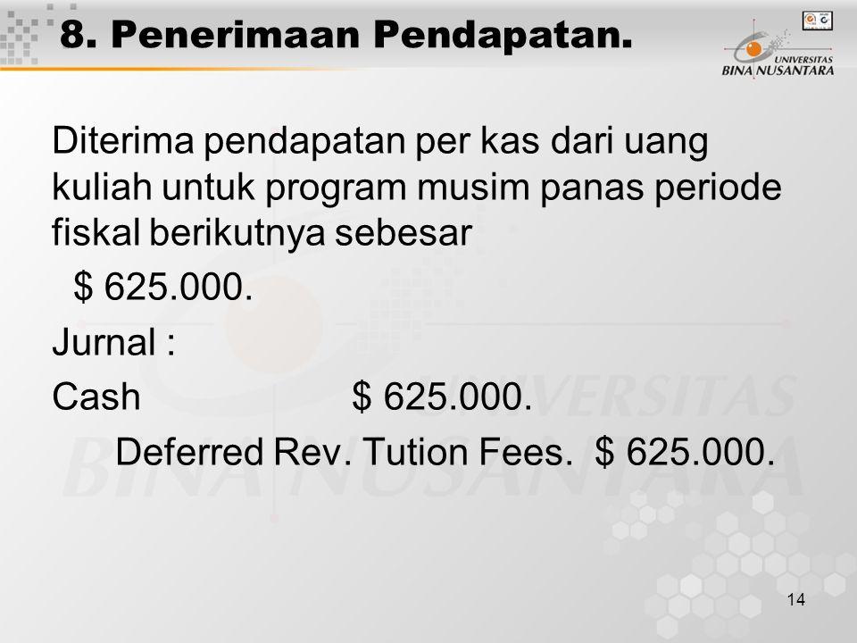 8. Penerimaan Pendapatan.