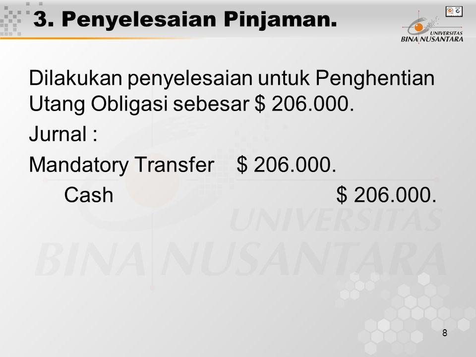3. Penyelesaian Pinjaman.
