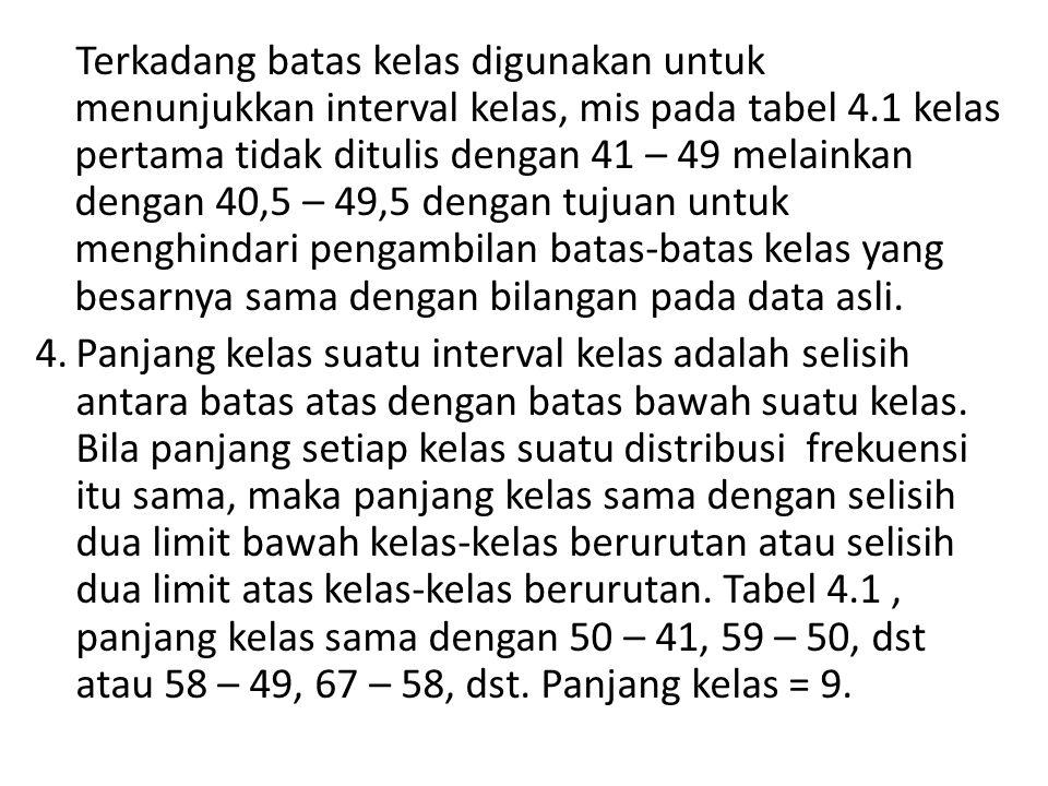 Terkadang batas kelas digunakan untuk menunjukkan interval kelas, mis pada tabel 4.1 kelas pertama tidak ditulis dengan 41 – 49 melainkan dengan 40,5 – 49,5 dengan tujuan untuk menghindari pengambilan batas-batas kelas yang besarnya sama dengan bilangan pada data asli.