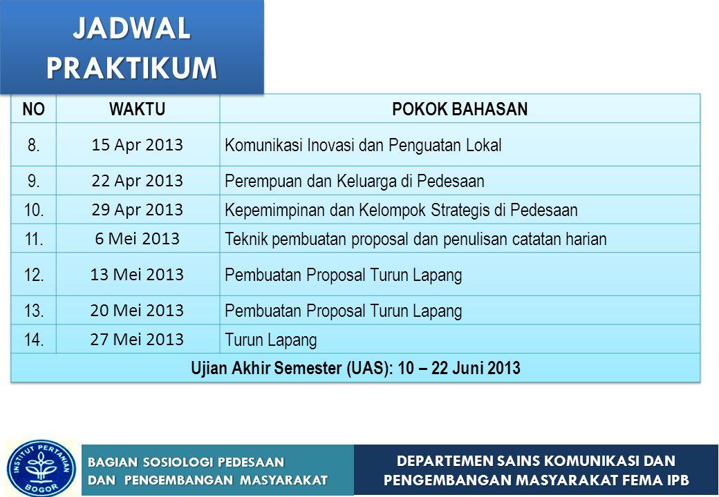 Ujian Akhir Semester (UAS): 10 – 22 Juni 2013